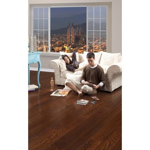 Parchet triplustratificat 14 mm brown Barcelona, Tarkett Tango Art, finisaj lac lucios