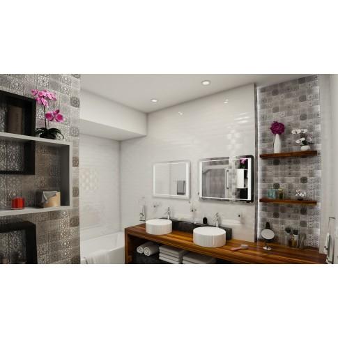 Decor faianta baie / bucatarie Arles 1 Blanco (3P) lucios gri 7.5 x 30 cm
