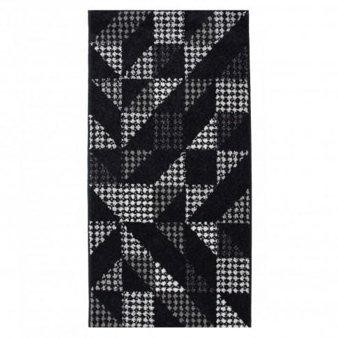 Covor living / dormitor McThree Casin 7565 K948 polipropilena frize, heat-set dreptunghiular negru 60 x 110 cm