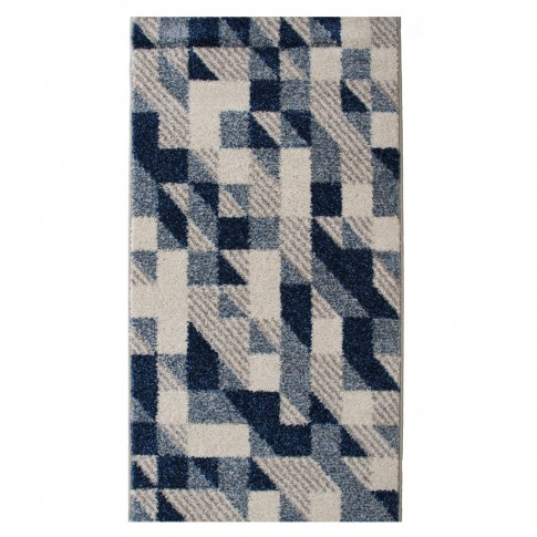 Covor living / dormitor McThree Casin 8072 8V13 polipropilena frize, heat-set dreptunghiular albastru 80 x 150 cm