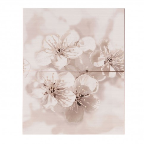 Decor faianta baie / bucatarie Raffi/Gryfin Flower Lig. Grey lucios 40 x 50 cm