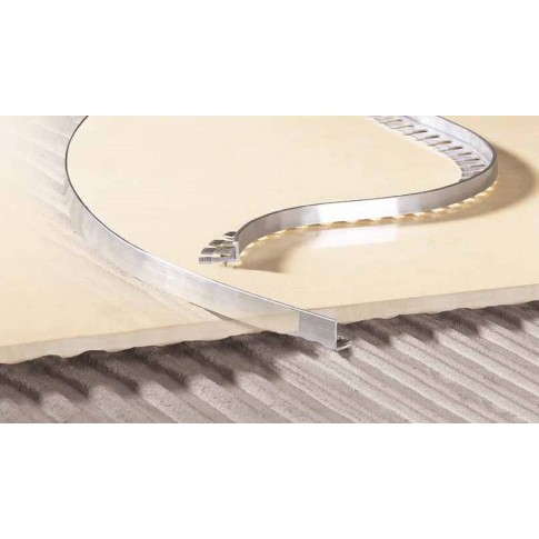 Profil aluminiu terminatie curbabila gresie, argintiu, 12.5 x 2500 mm
