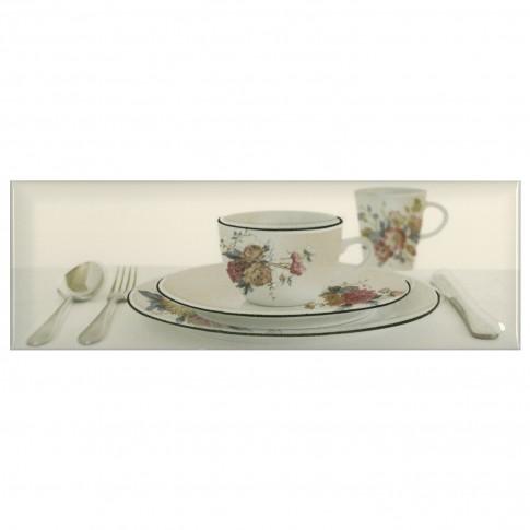 Decor faianta bucatarie Tea 3 Cream (B) crem lucios 10 x 30 cm
