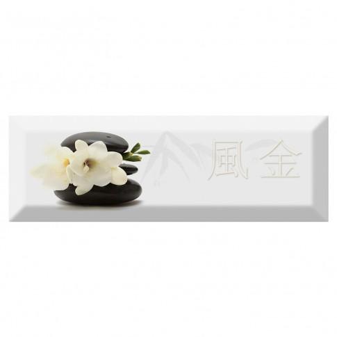 Decor faianta bucatarie Japan Tea 04 (B) White lucios alb 10 x 30 cm