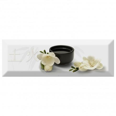 Decor faianta bucatarie Japan Tea 04 (C) White lucios alb 10 x 30 cm