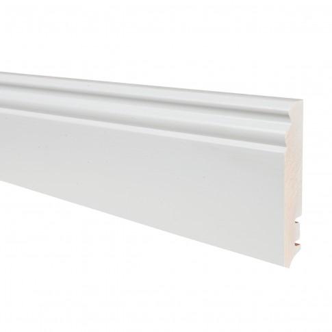 Plinta parchet lemn P9H, alb lacuit, 2200 x 95 x 16 mm