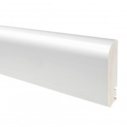 Plinta parchet lemn P92, alb lacuit, 2200 x 95 x 16 mm