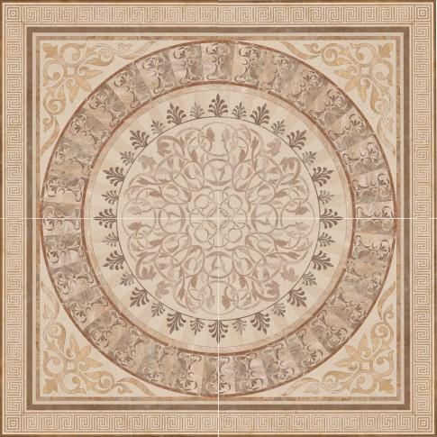 Gresie decor interior portelanata, rectificata, Roseton Crema, lucioasa, crem, 60 x 60 cm