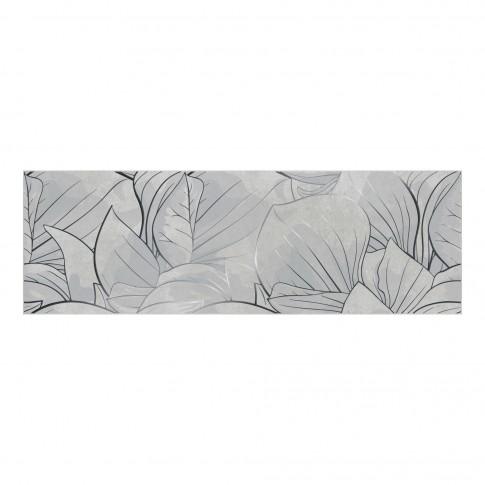Decor faianta baie / bucatarie Flower Cemento OD486-005, gri deschis, 24 x 74 cm