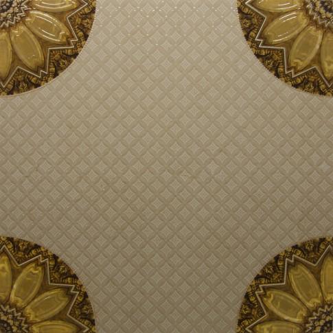 Decor pentru gresie Versailles Centro, crem, lucios, 60 x 60 cm