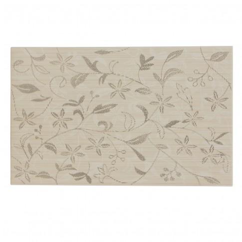 Decor faianta baie / bucatarie Tanaka Cream Flower mat crem 25 x 40 cm