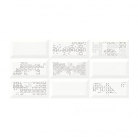 Decor faianta baie / bucatarie Naris Patchwork WD285-002, alb, 29.7 x 60 cm