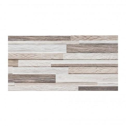 Gresie exterior / interior portelanata, Woodmania Natural, mata, rectificata, alb + maro, 30 x 60 cm