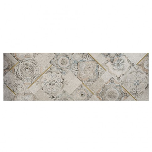 Decor faianta baie / bucatarie Kassel, argintiu, satinat, 32.77 x 100 cm