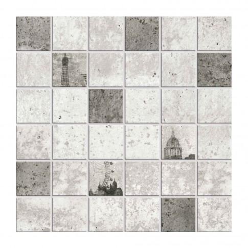 Decor faianta baie / bucatarie Cesarom Mozaic Cement 2600-0108, gri, mat, 30 x 30 cm
