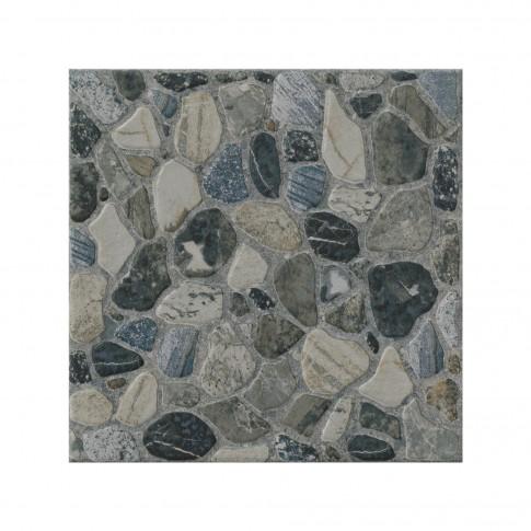 Gresie exterior / interior portelanata, Sorrento Graphite, mata, antiderapanta, gri, imitatie piatra, 29.8 x 29.8 cm
