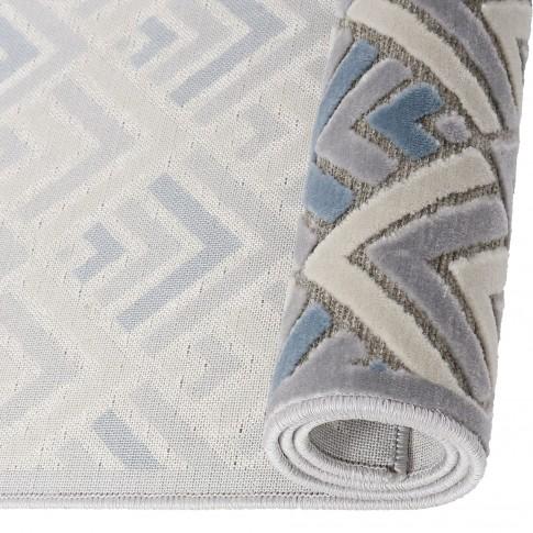 Covor living / dormitor Oriental Weavers Alice H 11/OH8, poliolefina chenila, dreptunghiular, gri + albastru, 120 x 170 cm