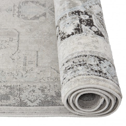 Covor living / dormitor Oriental Weavers Makrana X 1807/OS1, poliolefina + poliester, dreptunghiular, gri + negru, 160 x 235 cm