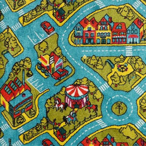 Covor camera copii Sintelon Play 78PMP, orasel copii, polipropilena, dreptunghiular, albastru, 120 x 170 cm