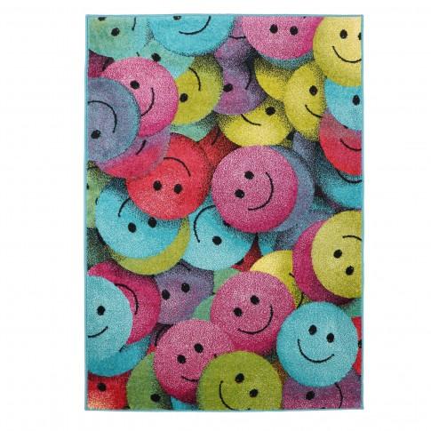 Covor camera copii Sintelon Play 91PMP, smiley face, polipropilena, dreptunghiular, roz, 120 x 170 cm