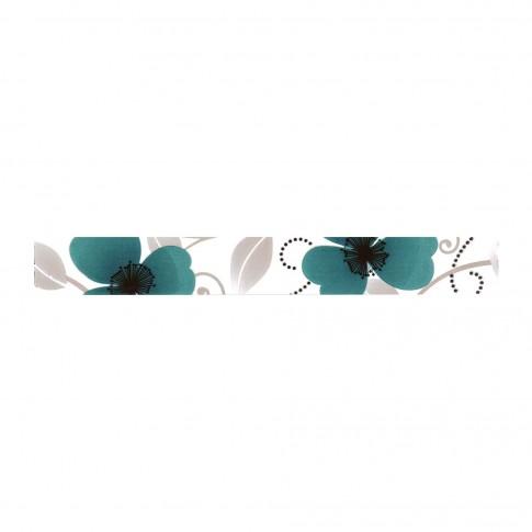 Brau faianta Cesarom Vision, model floral cu maci, turcoaz, lucios, 5 x 40.2 cm
