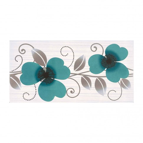 Decor faianta baie / bucatarie Cesarom Vision, model floral cu maci, turcoaz, lucios, 20.2 x 40.2 cm