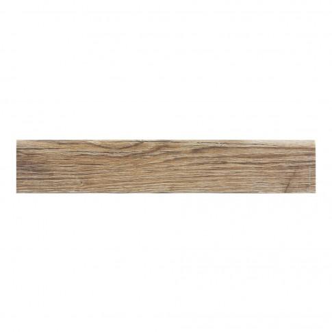 Plinta gresie portelanata Rila Oak, imitatie lemn, maro, 8 x 45 cm