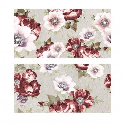 Decor faianta baie / bucatarie Cesarom, 2651-0095 Finestone, gri, mat, model floral, 25 x 50 cm, set 2 placi