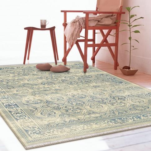 Covor living / dormitor Carpeta Atlas 75471-43744, polipropilena heat-set, dreptunghiular, albastru + crem, 60  x 85 cm