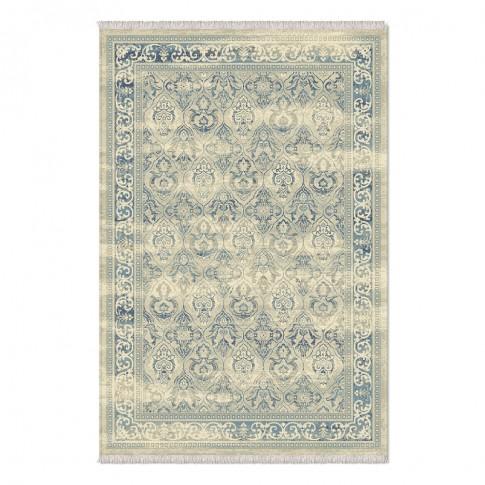 Covor living / dormitor Carpeta Atlas 75471-43744, polipropilena heat-set, dreptunghiular, albastru + crem, 120  x 155 cm