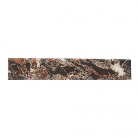 Plinta gresie portelanata Royal, imitatie marmura, neagra, 8 x 45 cm