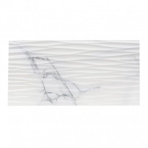 Faianta decor baie / bucatarie Dune Newbury, rectificata, imitatie marmura, lucioasa, alba, 30 x 60 cm