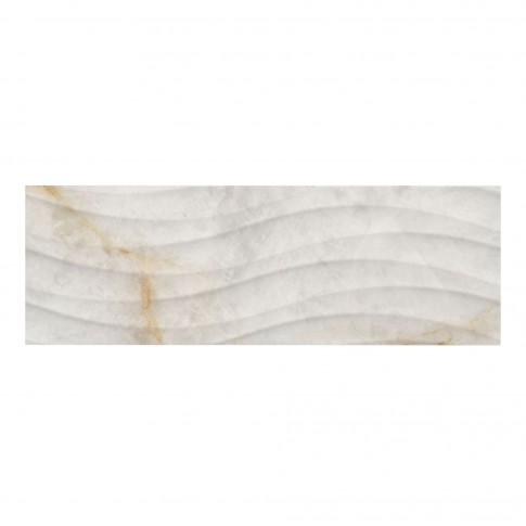 Faianta decor baie / bucatarie Cordoba Onda, rectificata, imitatie marmura, lucioasa, alba, 25 x 75 cm
