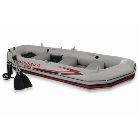 Set barca gonflabila / pneumatica Intex 68376 Mariner 4, pentru 4 persoane + vasle + pompa manuala