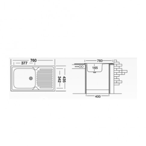 Chiuveta bucatarie inox anticalcar Doruq 1654 cuva pe dreapta 76 x 43.5 cm