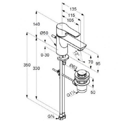 Baterie baie pentru lavoar, Kludi Life 433850575 + ventil, montaj stativ, monocomanda, finisaj cromat