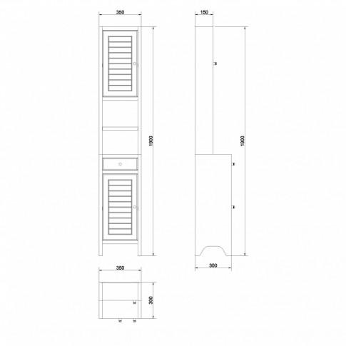 Dulap baie pe sol, 2 usi, cu sertar, Cersanit Mocca S544-003, wenge, deschidere pe stanga, 190 x 35 cm