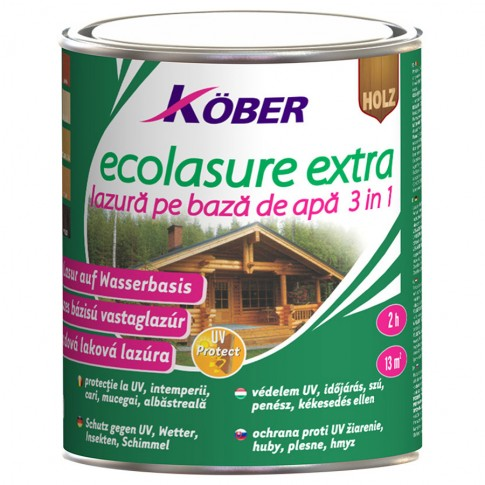 Lac / lazura 3 in 1 pentru lemn, Kober Ecolasure Extra, incolor, pe baza de apa, interior / exterior, 2.5 L