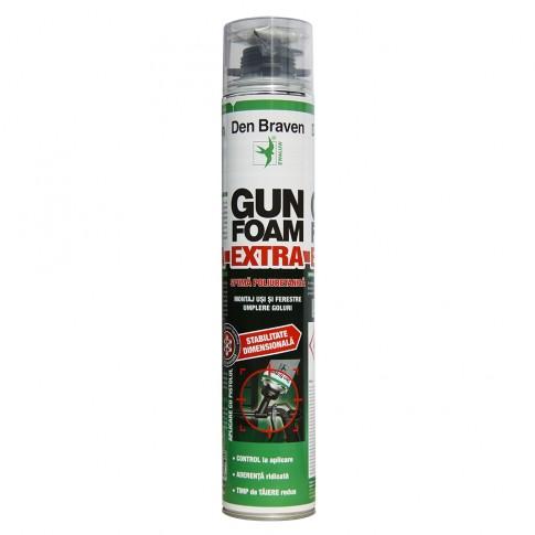 Spuma poliuretanica pentru montaj, aplicare cu pistol, Den Braven Gun Foam Extra, 750 ml