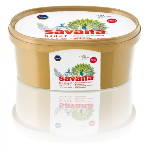 Finisaj pentru vopsele lavabile Savana Sidef, cu irizatii multicolore, 0.75 L