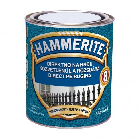Vopsea alchidica pentru metal Hammerite - efect fier forjat, interior / exterior, argintie, 0.75 L