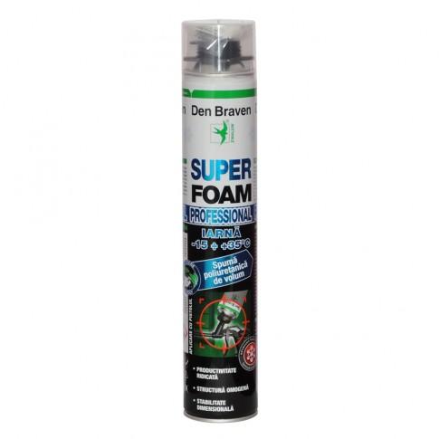 Spuma poliuretanica, aplicare cu pistol, varianta de iarna, Den Braven Super Foam, 825 ml