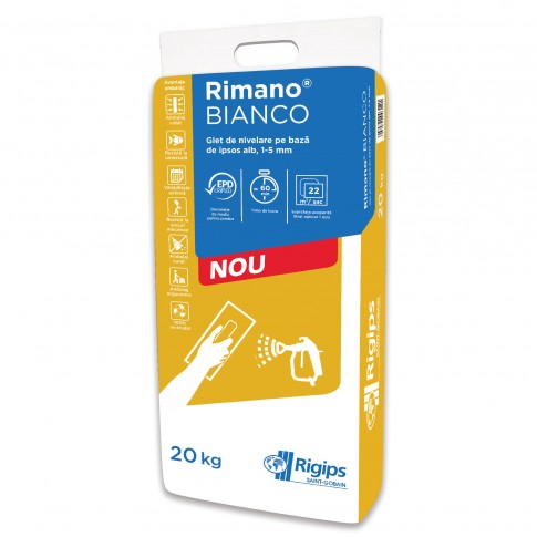 Glet de finisaj Rigips Rimano Bianco, pe baza de ipsos, interior, 20 kg