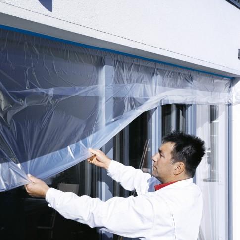 Folie de acoperire cu banda mascare, tesa Easy Cover 4411 UV Precizie, transparenta, exterior, rezistenta la UV, 2600 mm