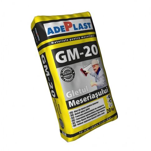 Gletul meseriasului Adeplast GM-20, pe baza de ipsos, interior, 20 kg