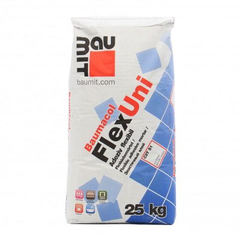Adeziv flexibil pentru gresie si faianta Baumit Baumacol FlexUni, interior / exterior, gri, 25 kg