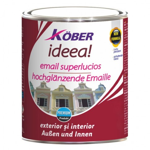 Vopsea alchidica pentru lemn / metal, Kober Ideea, interior / exterior, galbena, 4 L
