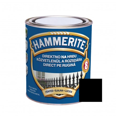 Vopsea alchidica pentru metal Hammerite - efect lucios, interior / exterior, neagra, 2.5 L