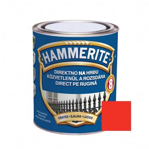 Vopsea alchidica pentru metal Hammerite - efect lucios, interior / exterior, rosie, 2.5 L