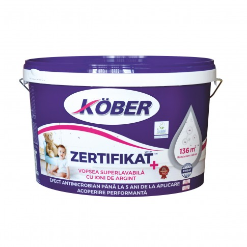 Vopsea lavabila interior, Kober Zertifikat Plus, alba, 8.5 L